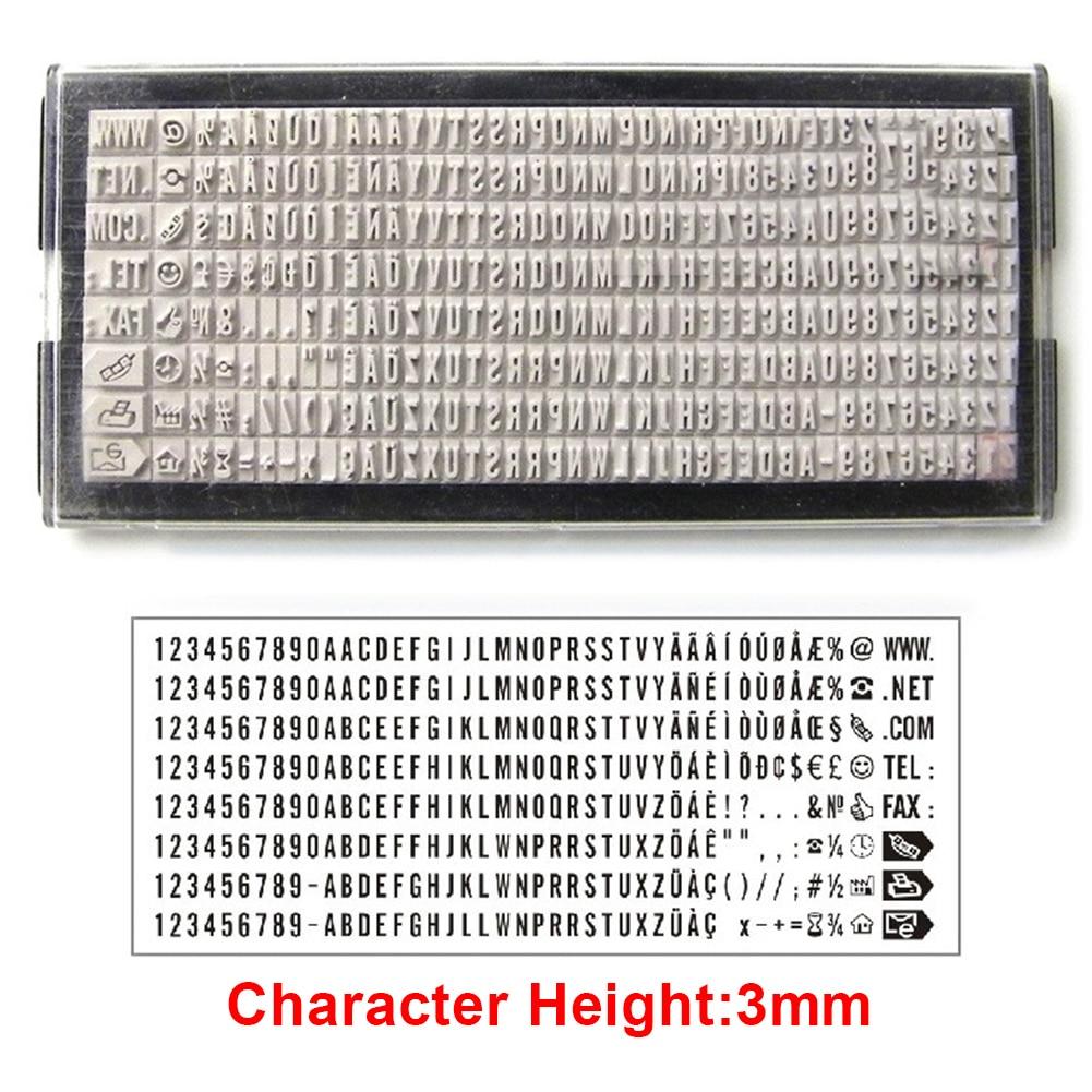 1 Juego de sellos de oficina 8 Band 3mm/4mm, sello de goma para numeración de datos con números y letras