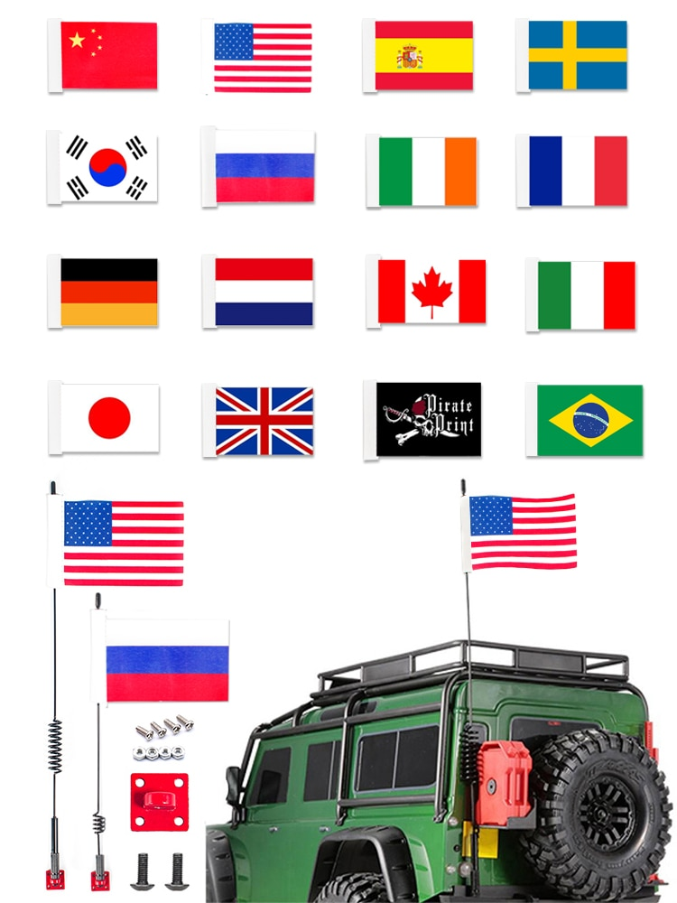 1/8 1/10 Scale Metal RC Decorative Antenna Mast and Flag Accessories for RC Tracked Axles SCX10 90046 Traxxas TRX-4 TRX4 D90
