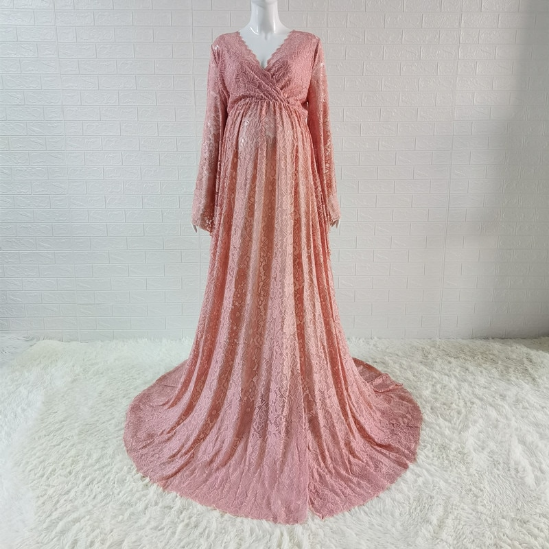 2020 Boho Style Lace Maternity Dress For Photography Maternity Photography Outfit Maxi Gown Pregnancy Women Lace Long Dress enlarge