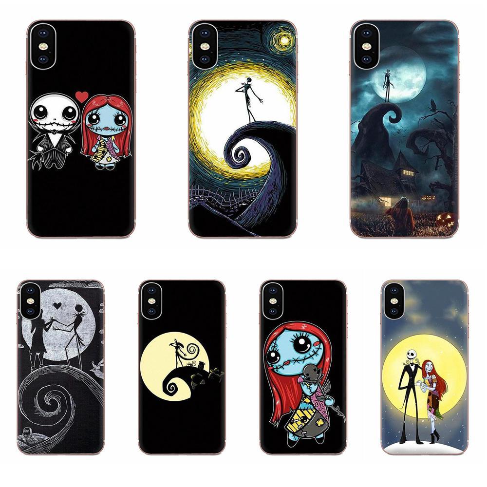 Suave móvil del TPU funda para Apple iPhone 11 Pro X XS X Max XR 4 4S 5 5C 5S SE 6 6S 7 8 Plus Jack y Sally azúcar cráneo luna