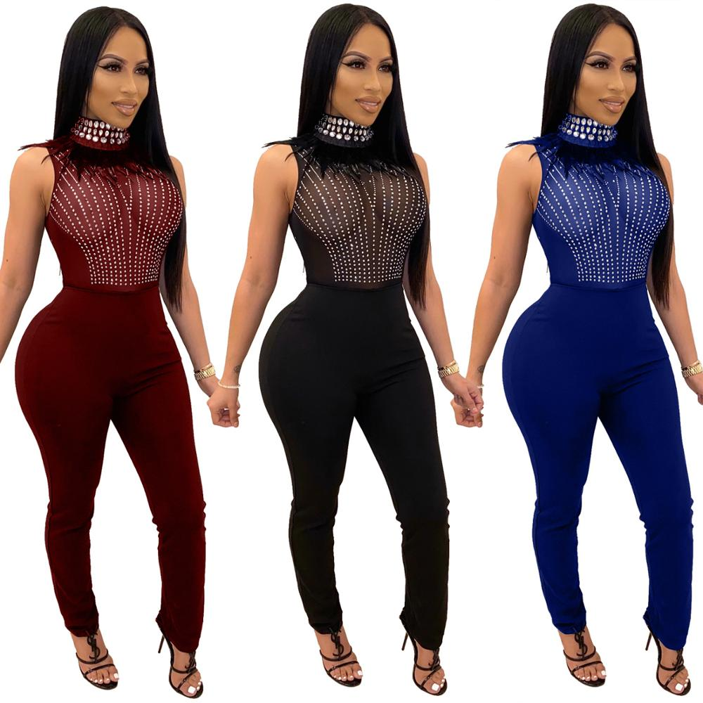 Women Sexy Jumpsuit Diamond Feather Semitransparent Mesh Patchwork Turtleneck Long Pencil Pants Party Romper Nightclub Overalls