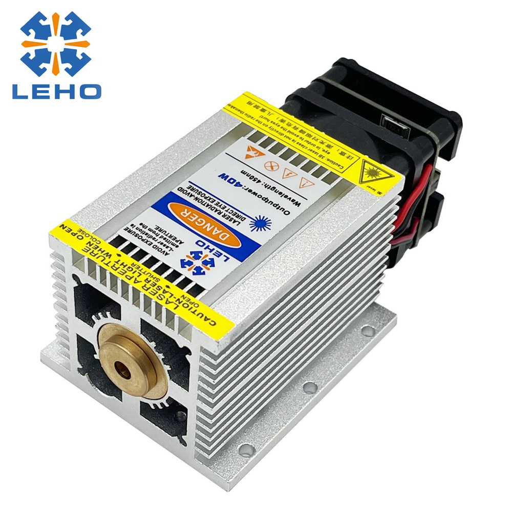LEHO 40W Blue Laser Module CNC Laser Head Laser Engraving Marking Cutting Module Fixed Focus Fast Engraving with PWM TTL