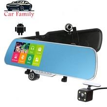 Dashcam-miroir de voiture   Écran tactile IPS 1080P 5.0 pouces, caméra de voiture, Android WiFi GPS Navigation DVR, double objectif, caméra de voiture, enregistreur