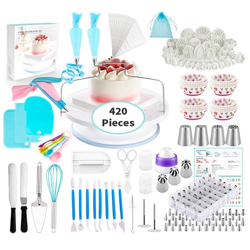 420 piezas de boquilla de acero inoxidable DIY pastel decoración punta Set boca glaseado tubería crema galletas utensilios de decoración para hornear