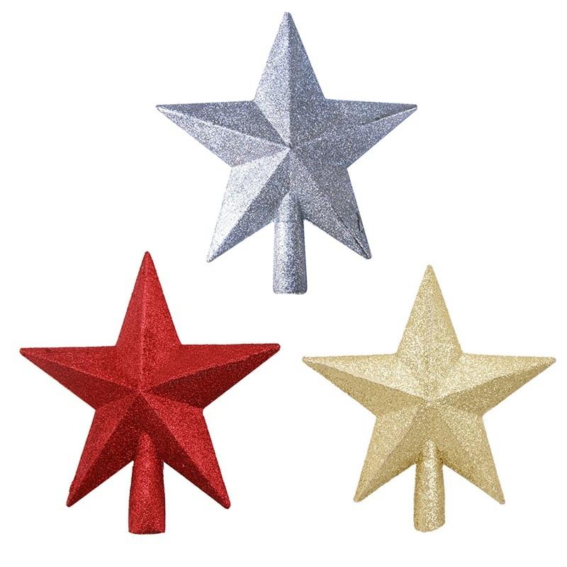 Estrellas brillantes para árbol de Navidad, decoraciones para árboles de Navidad, plástico...