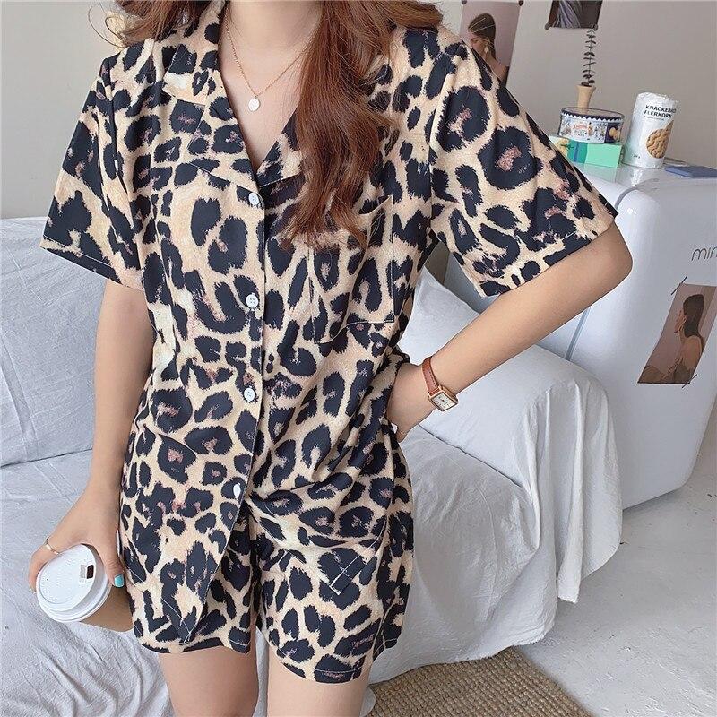 summer leopard pajamas set women sleepwear home clothes turn down collar shirts pijamas shorts 2 piece set homewear недорого