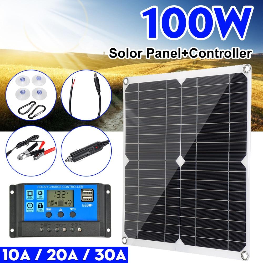 100 واط لوحة طاقة شمسية مزدوجة 12 فولت/5 فولت USB مع 30A تحكم مقاوم للماء الخلايا الشمسية بولي الخلايا الشمسية للسيارة يخت RV شاحن بطارية