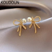 exquisite small bowknot pearl earrings for woman 2021 korean fashion jewelry party lady luxury accessories girl jewelry gift