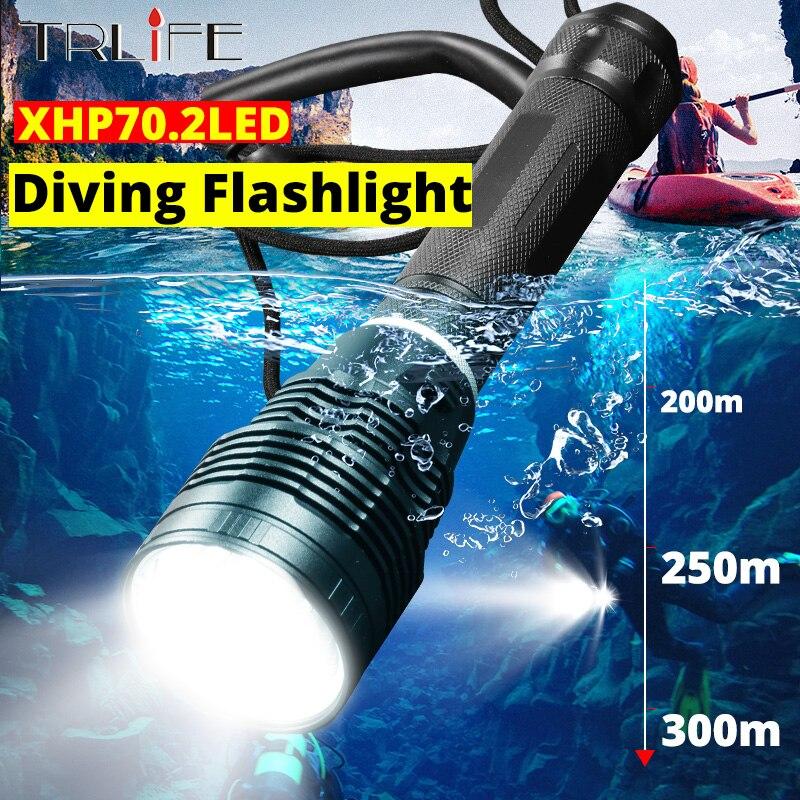 XHP50.2 puissant LED lampe de poche de plongée sous-marine 30W XHP50 sous-marine 250M torche IPX8 étanche 3T6 lampe de plongée lanterne