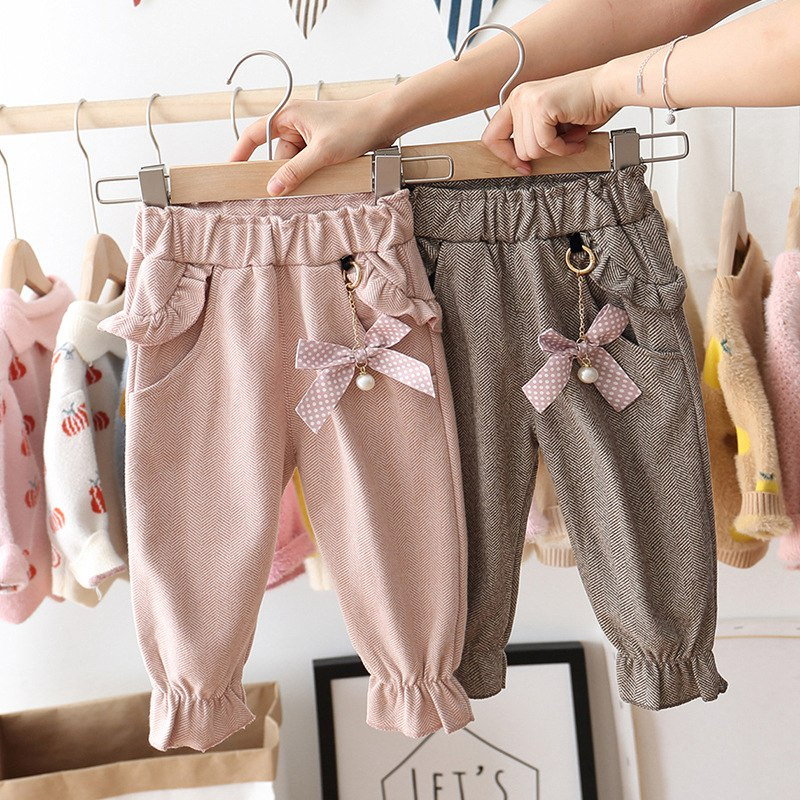 fall winter long sleeves pants cotton set grey stripes rufflepumpkin print pant baby kids wear girls clothing with accessory bow 2019 Autumn Baby Girls Kids Pants Dot Polka Bow Ruffles Casual Trousers Infants Children Clothes Wear Princess Long Pant S9692