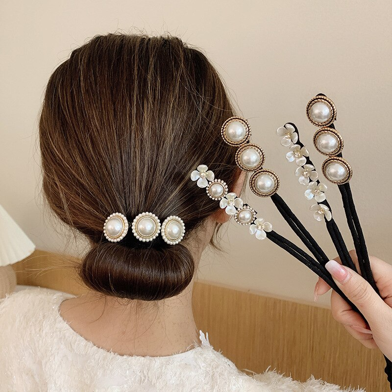 Big Pearls Flower Magic Bun Maker DIY Hairstyle Headband Hair Making Tools Women Donut Device Quick Messy Bands Accessories