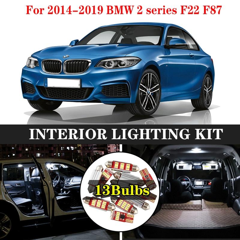 ZXCXZ 13 Uds. Canbus LED lámpara coche bombillas Interior paquete Kit para 2014-2019 BMW 2 series F22 F87 mapa Domo tronco puerta placa Luz