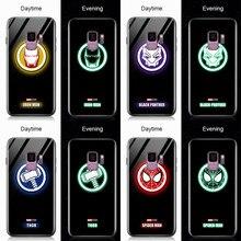 Pour Samsung Galaxy Note 20 Ultra étui lumineux Marvel Avenger Logo couvercle en verre trempé pour Samsung S7 S8 S9 S10 S20 étuis
