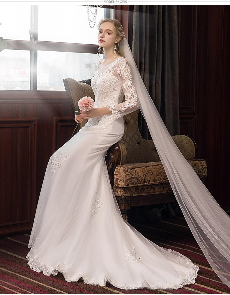 2021 luxury design high-end fishtail dream Korean small tail light wedding dress temperament slim long sleeve wedding dress