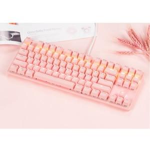 Mechanical Keyboard Pink Gaming Keyboard USB  Keyboard Mechanical Gaming Keyboard 87-Key Gamers Keyboard