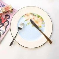 western plate set european tableware round steak plate knife and fork ceramic plate flat plate bread plate pasta phnom penh