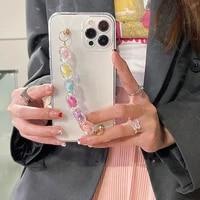 love heart bracelet wrist chain case for samsung galaxy m10 m01s m02s m11 m21 m31s m51 m12 a52 a72 a22 a01 core clear soft cover