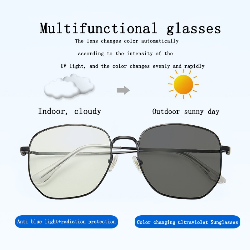 2020 New RMM polygon Anti blue light Discolored Sunglasses metal eyeglasses for men women multi-func