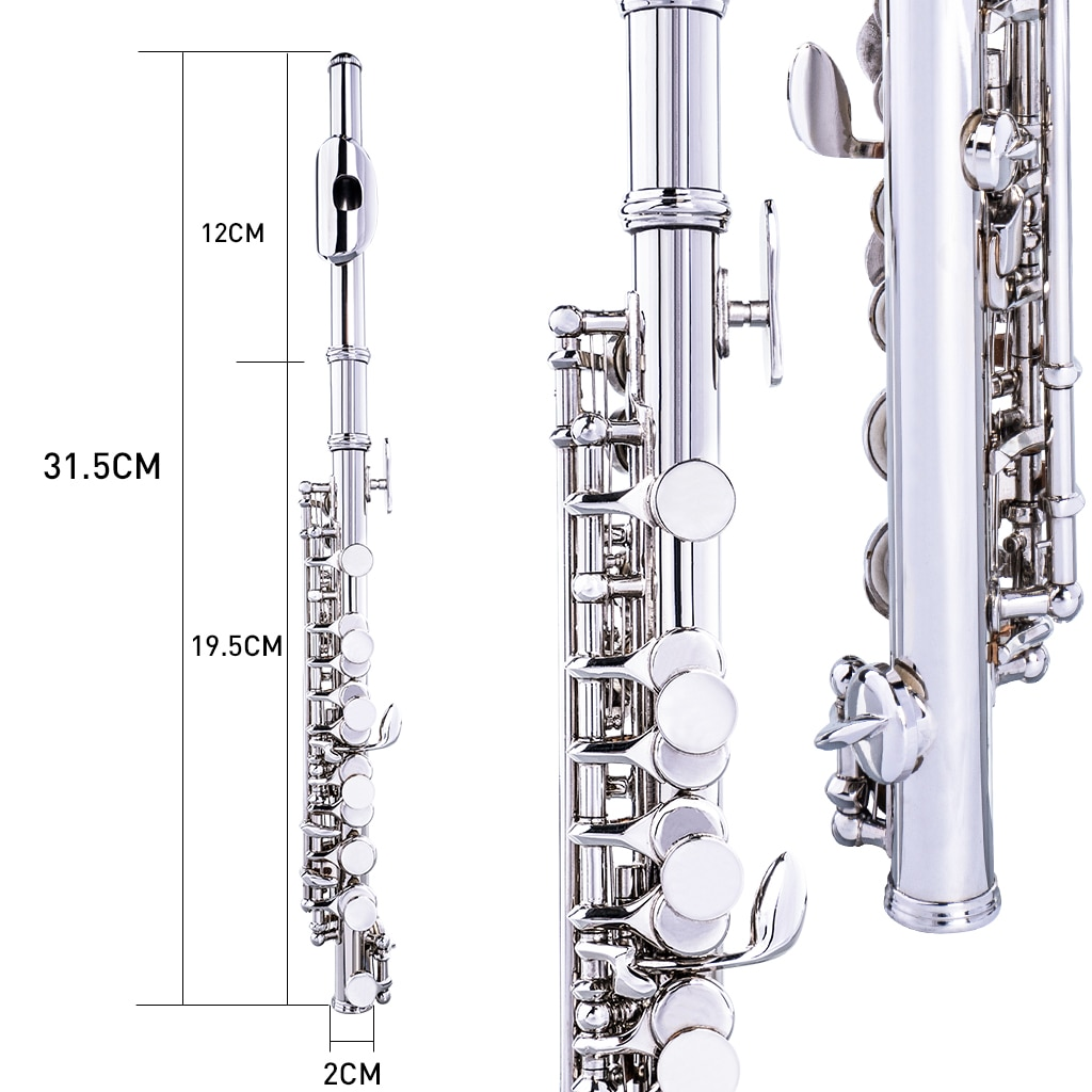 NAOMI Excellent Nickel Plated C Key Piccolo Silver Color W/ Case Cleaning Rod And Cloth And Gloves Cupronickel Piccolo Set enlarge
