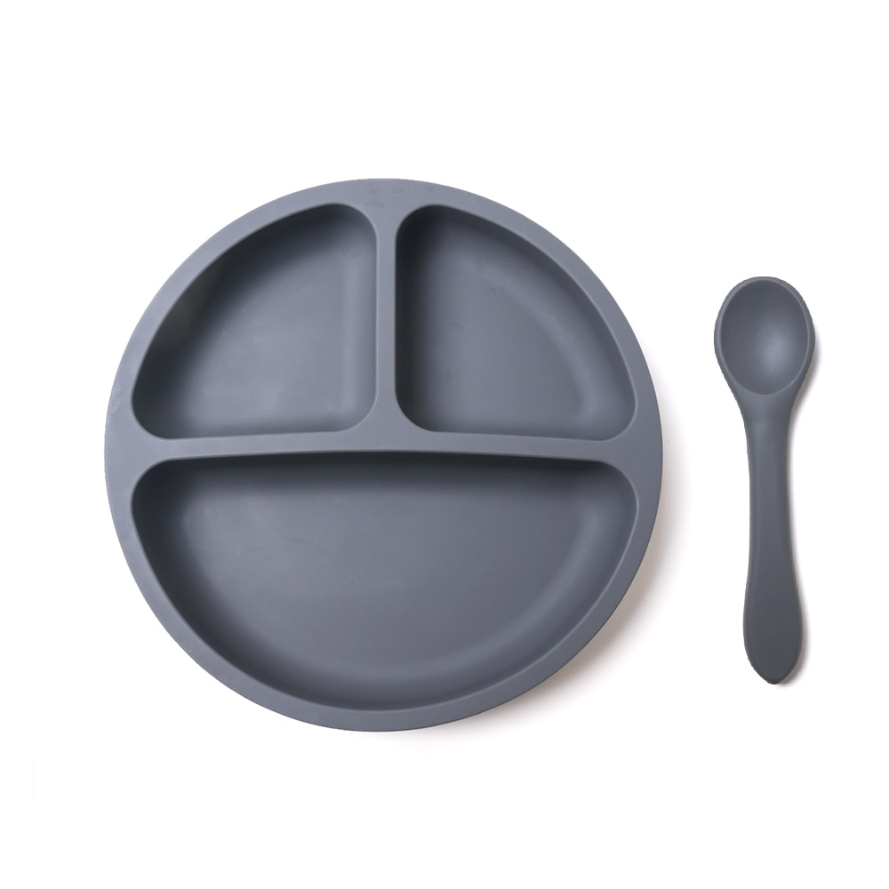 Solid Divided Baby Dinner Plates Tableware Silicone Suction Plate and Spoon Set