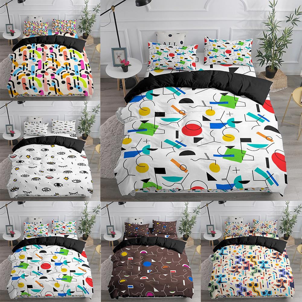Homesky الكرتون حاف الغطاء ثلاثية الأبعاد الهندسة طقم ملائات سرير مطبوع 2/3 قطع المنسوجات المنزلية طقم ملاءة سرير المخدة (لا ورقة) 14 مقاسات