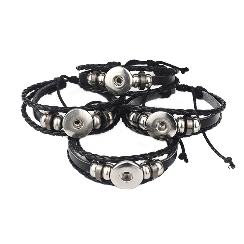 5pcs Snap Button Bracelet Bangle Leather Retro Handmade Braided Fit 18MM Buttons Jewelry