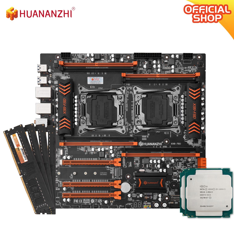 HUANANZHI X99 F8D X99 اللوحة إنتل المزدوج مع إنتل زيون E5 2696v3*2 مع 4*8GB DDR4 NON-ECC الذاكرة كومبو كيت NVME USB