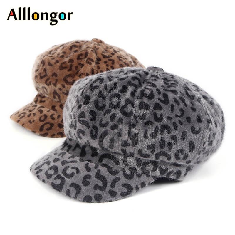 Herbst 2019 Winter leoparden-print Baskenmütze Hut Mode Korea Baskenmütze femme chapeau maler hüte achteckige zeitungsjunge mütze