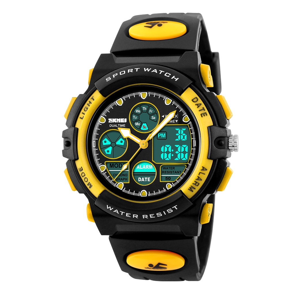 SKMEI Analog Digital Military Army LED Sports Kids Watches Children Waterproof Dual Display Wristwatches LED Montre Enfant