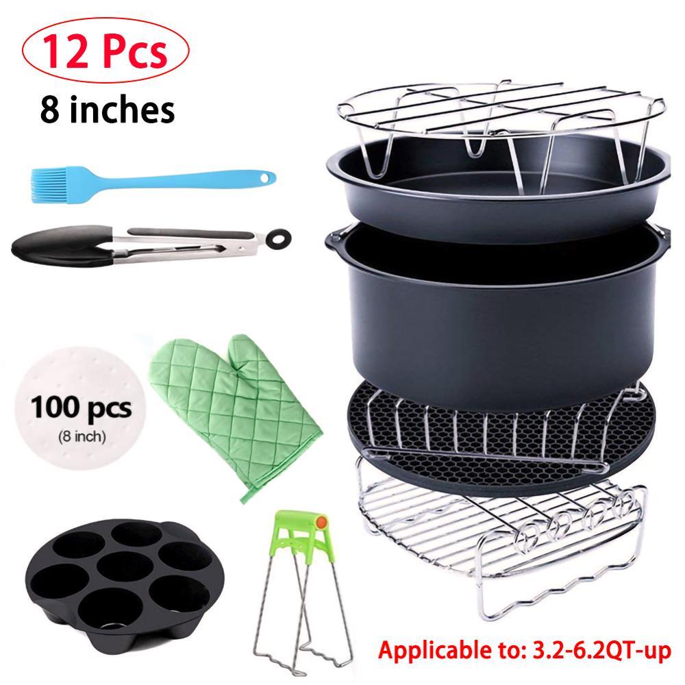 12 pçs de alta qualidade acessórios 8 Polegada caber todos airfritadeira ar terno para 3.2qt 5.8qt up saúde fritadeira pizza fogão cozinha