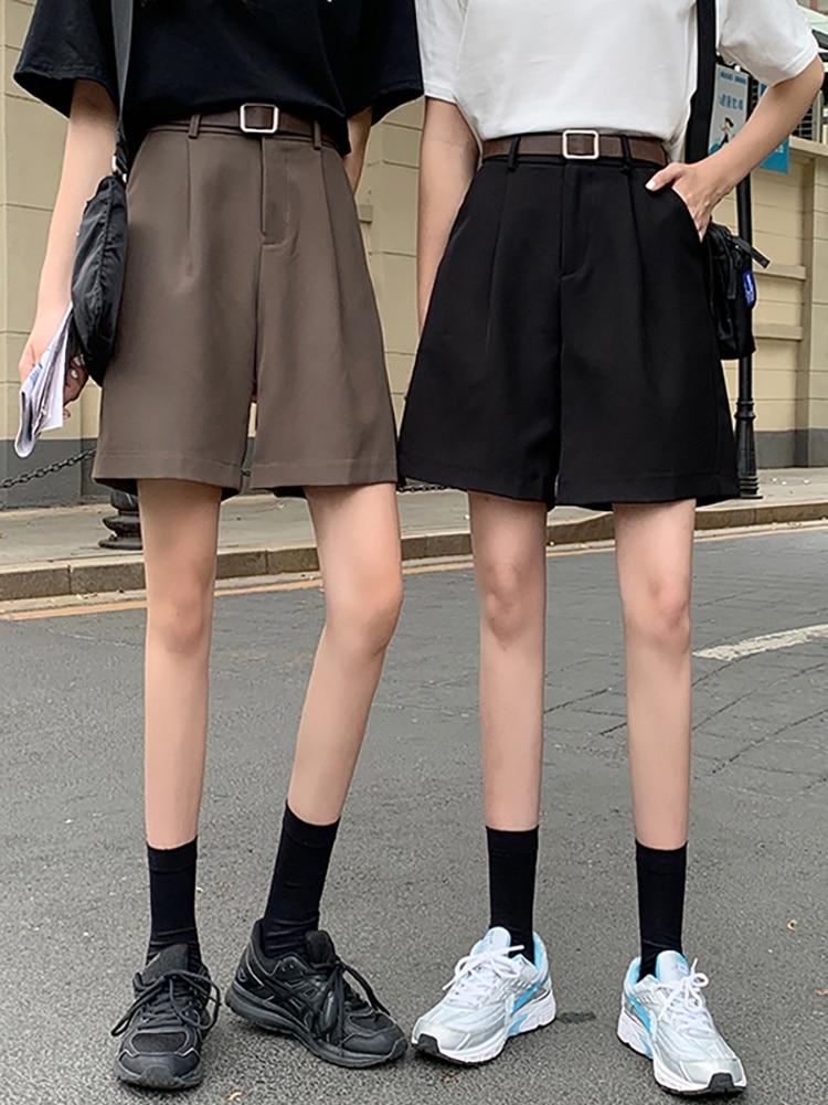 Women's Summer Shorts Thin Wide Leg Pants Capris High Waist A-line Pants Loose Small Middle Pants