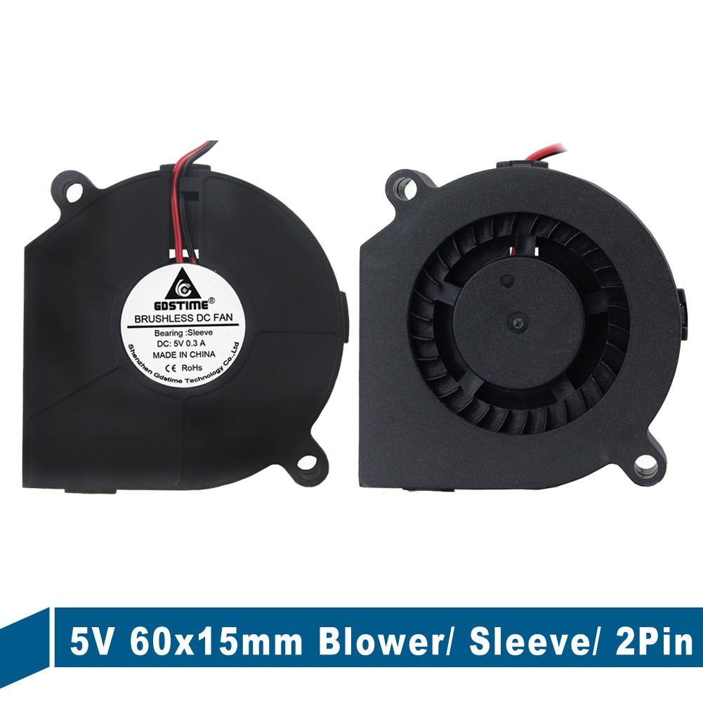 1Pieces Gdstime 60x15mm Computer Cooler DC Centrifugal Blower Fan 2Pin 5V 6015S 60mm x 15mm 6cm Cooling Blower for 3D Printer 5pcs lot gdstime 6015 2pin 60mm 60 60x15mm 12v dc computer cpu cooling fan 6cm cooler