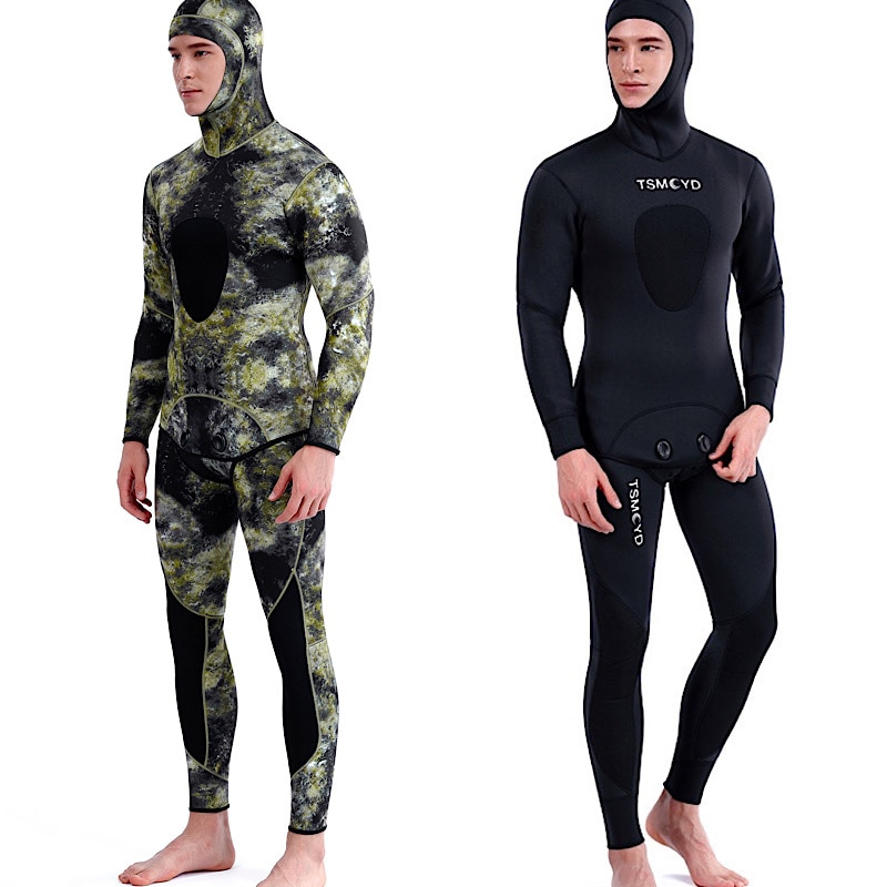 3mm Camouflage Wetsuit Long Sleeve Fission Hooded 2 Pieces Of Neoprene Submersible Suit For Men Keep Warm Waterproof Diving Suit