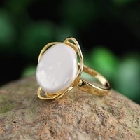 real baroque freshwater pearl ring for women party 16 18mm irregular big white pearl gold color rings fine jewelry gift
