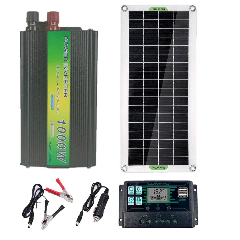 نظام الألواح الشمسية 30 وات ، 220 فولت ، طاقة شمسية مرنة ، عاكس 1000 وات ، وحدة تحكم في الشحن ، مجموعة عاكس للطاقة الشمسية كاملة مع توليد طاقة