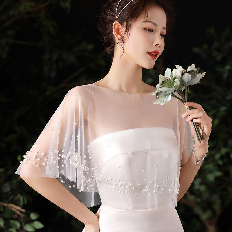 Chaqueta de novia básica con cuentas de perlas, Boleros blancos Para Boda, nueva colección 2021