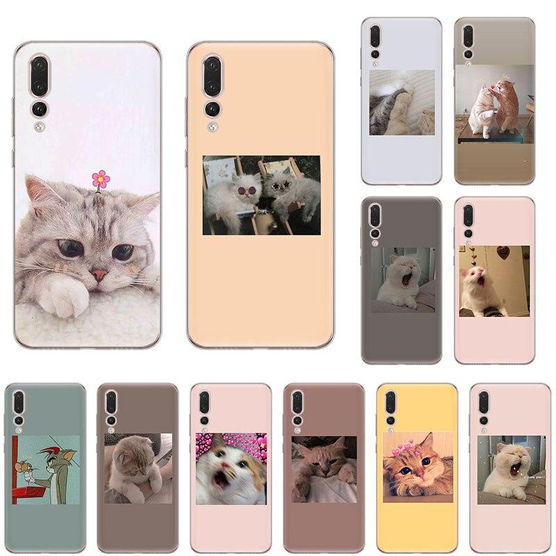WEICHE TPU Silikon Telefon Fall für huawei P40 P30 Pro P20 lite P-SMart2019 P10 P9 P8 Nova 5T 6 4 5 nette rosa lustige katze kunst abdeckung