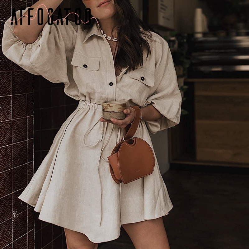 Affogatoo Vintage elagant women mini shirt dress Casual lantern sleeve short dress Turndown collar lace up linen female dresses
