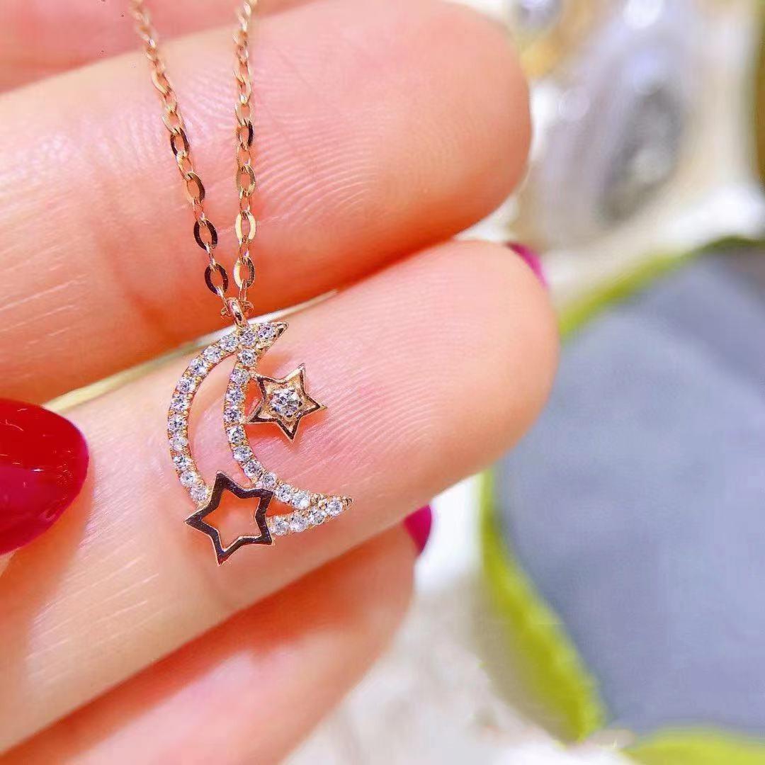 Изысканные-тонкие-с-изображением-луны-и-звезд-розовое-золото-ожерелье-кулон-микро-паве-ЧР-серебряное-ожерелье-с-цепочкой-Модные-Простые-св