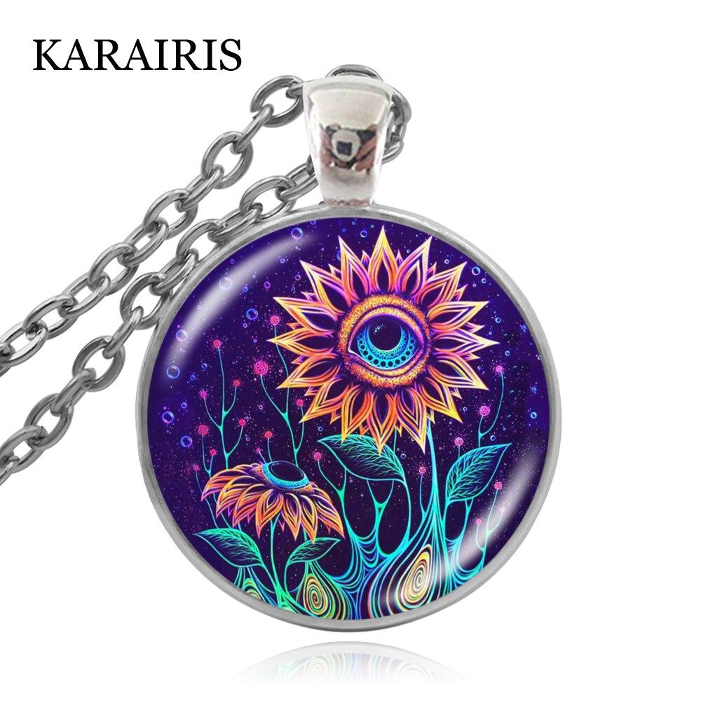 KARAIRIS Retro Art Necklace Glass Round Pendant Creative Charm Sweater Chain Necklaces Jewelry Men Women Favorite Gift Souvenir