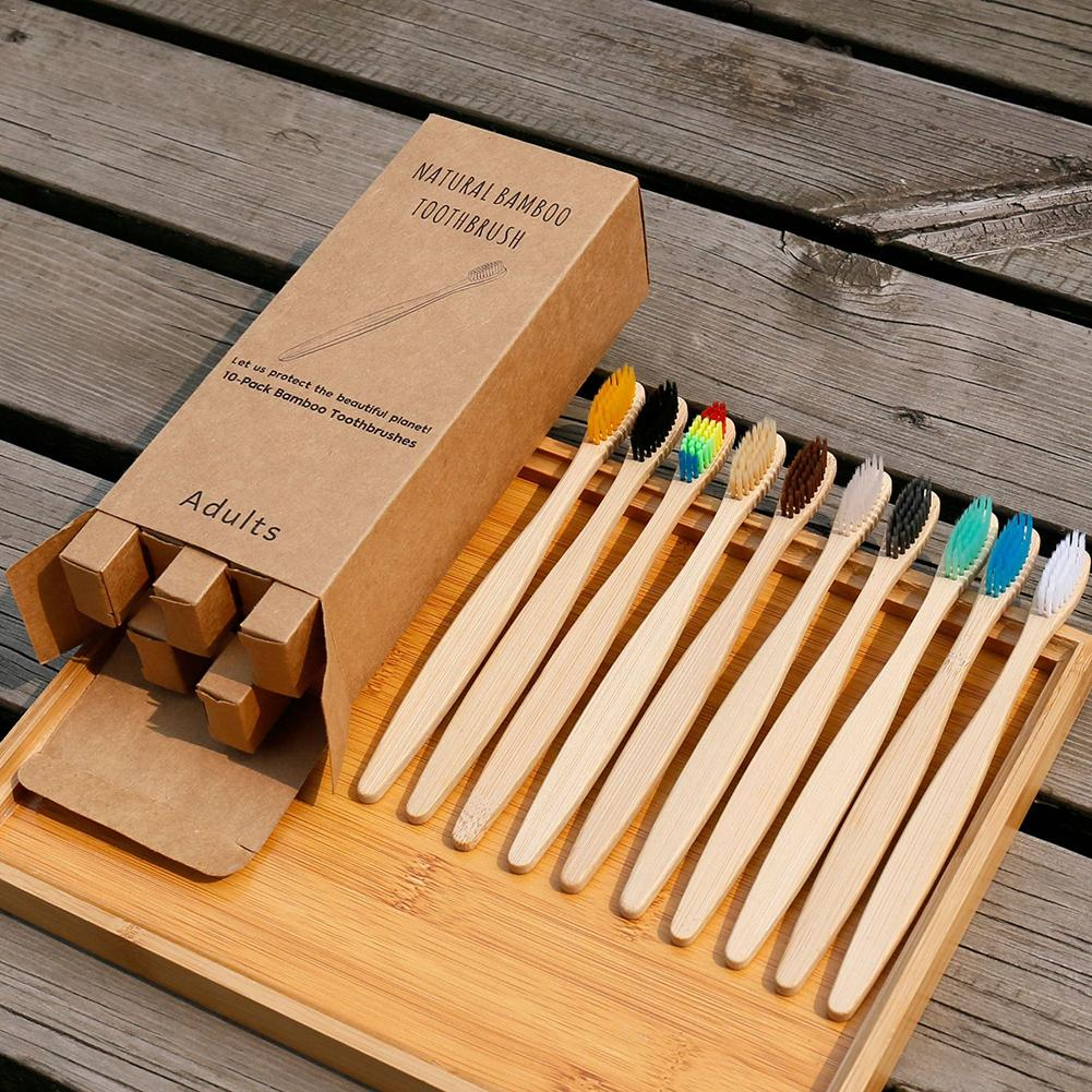 10 unids/set cepillo de dientes ecológico de fibra suave de bambú arcoíris cepillo de dientes Biodegradable cepillo de dientes con mango de bambú sólido