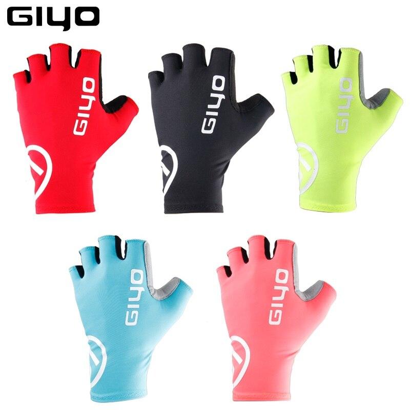 Giyo-Guantes antideslizantes de medio dedo para ciclismo, bicicleta de montaña, de carreras
