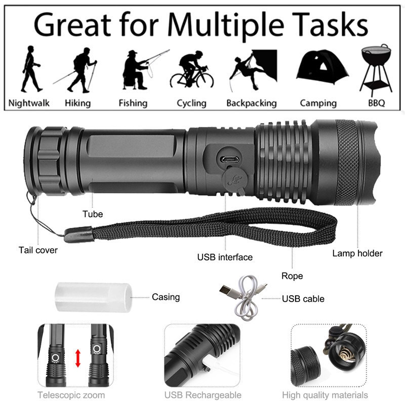 90000 lumens XLamp xhp70.2 hunting most powerful led flashlight rechargeable usb torch cree xhp70 xhp50 18650 or 26650 battery enlarge