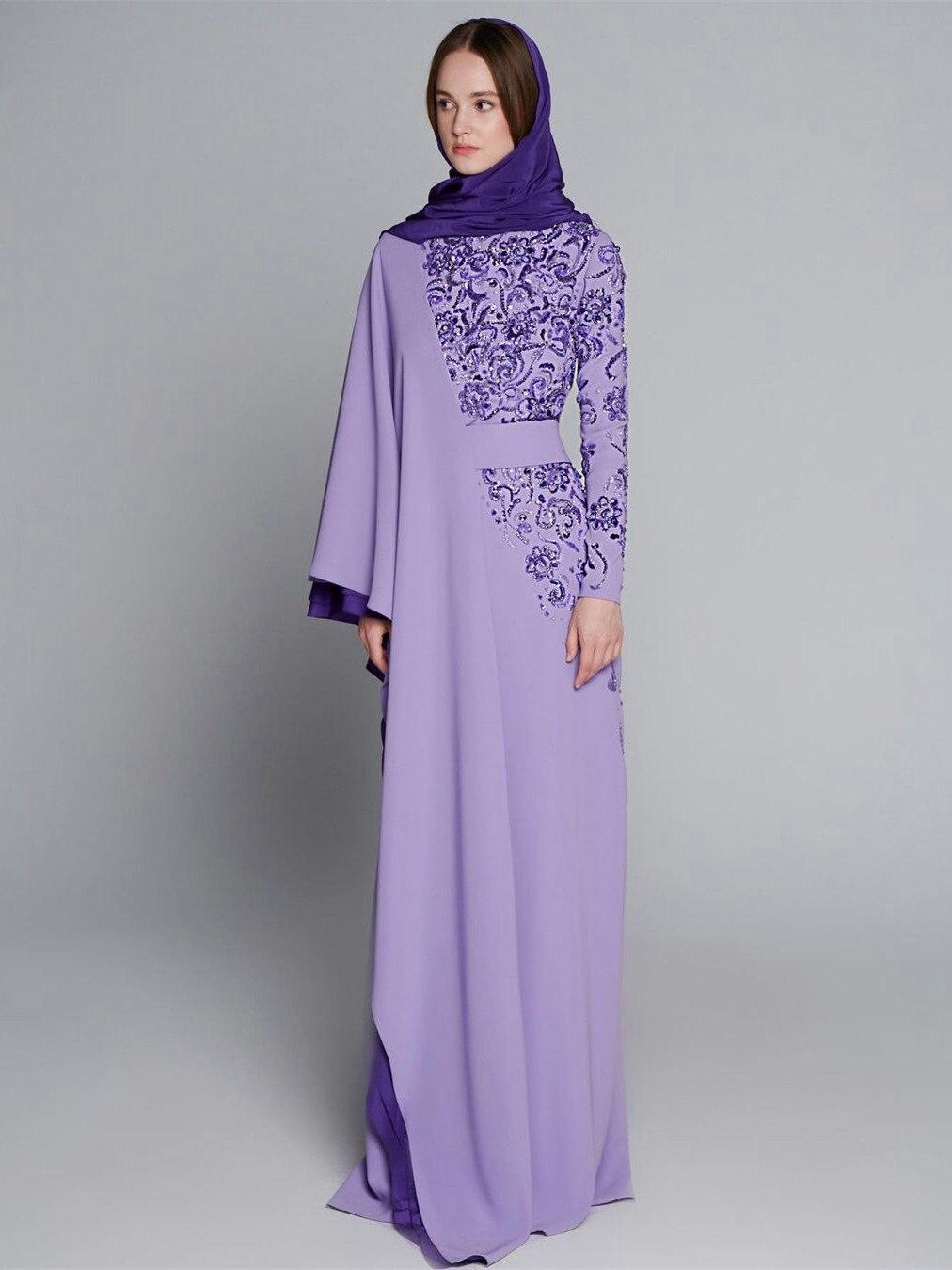 فساتين سهرة قفطان عربية أرجوانية بأكمام طويلة من الشيفون مطرز بالخرز ترتر مسلم للحفلات الراقصة