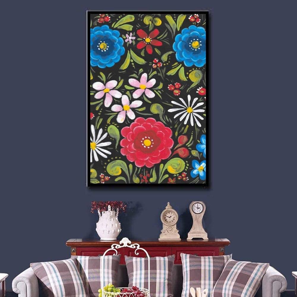 Batea-Cuadro de flores para decoración nórdica, lienzo de arte para pared, póster...