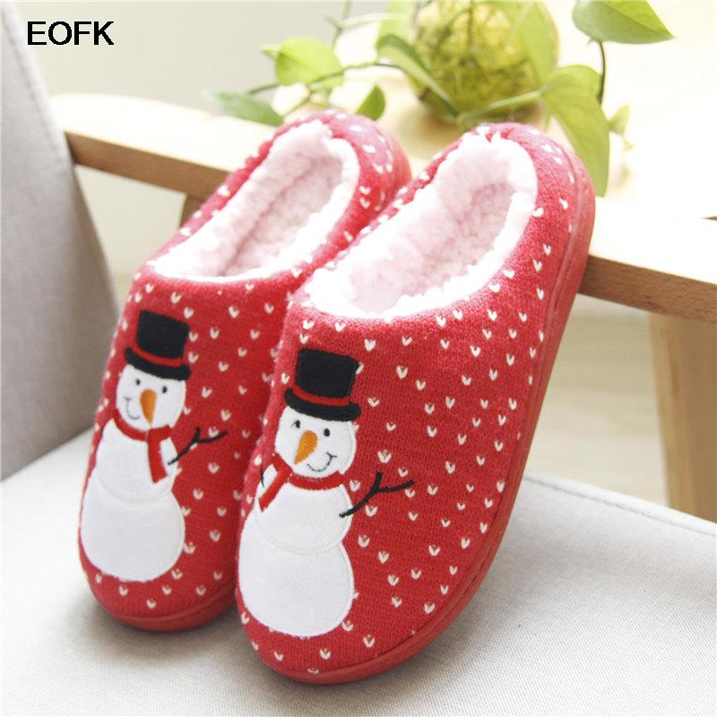 EOFK Women Home Slippers Winter Warm Short Plush Ladies Cotton Christmas Snowman Couple Flat Casual Comfortable Indoor Clogs