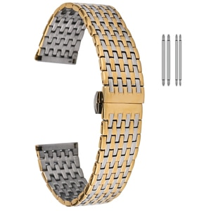 Stainless Steel Strap 20mm 22mm Metal Watch Band Link Replacement Butterfly Buckle Gold Bracelet Wristband Men Women Accessories