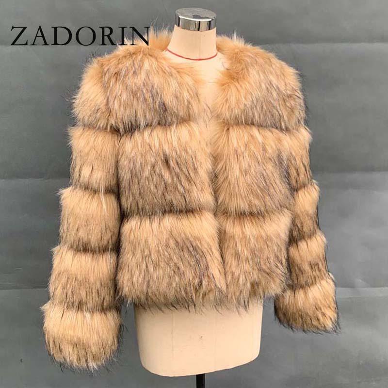 ZADORIN 2020 Women Fashion Faux Raccoon Fur Coat Luxury Short Furry Fur Top Jacket Women Winter Plush Fluffy Fur Coats for Women