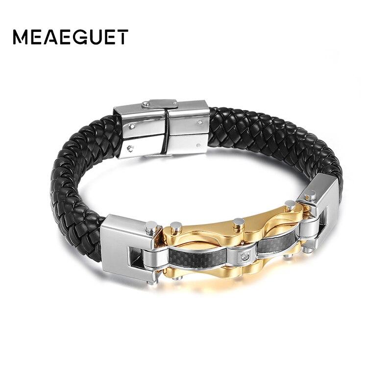 Pulseras de cuero para hombre Meaeguet Punk genuinas, brazaletes de acero inoxidable de alta calidad, pulsera de Color dorado para hombre