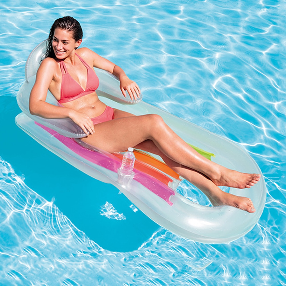 160X85cm Inflatable Floating Row Beach Swimming Air Mattress Pool Floats Floating Lounge Sleeping Be